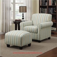 Portfolio Mira Summer Aqua Blue Stripe Living Room Comfortable Arm Chair and Ottoman  BUY NOW     $448.99    The Portfolio Mira arm chair and ottoman features a transitional design with rounded arms. The Mira chair and ottoman are cov ..  http://www.homeaccessoriesforus.top/2017/03/17/portfolio-mira-summer-aqua-blue-stripe-living-room-comfortable-arm-chair-and-ottoman/