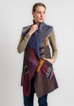 Mieko Mintz Reversible Hooded Vest in Purple Recycle Old Clothes, Santa Fe Dry Goods, Hooded Vest, Embroidered Jacket, Zero Waste, Plaid Scarf, Hoods, Sewing Projects, Collage