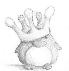 Penguin King by B-Keks - # Penguin # drawing - Kochen - Art Sketches Cute Easy Drawings, Art Drawings Sketches Simple, Pencil Art Drawings, Doodle Drawings, Doodle Art, Easy Animal Drawings, Cool Drawings Tumblr, Drawing Ideas, Cute Drawings Of People