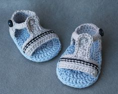 100% Cotton Crochet Baby Boy Sandals in Grey and Blue ,size 0-3 months, ready to ship