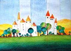 Village 5, Aquarell