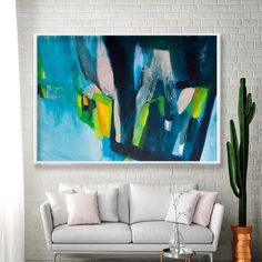 Large wall art print of abstract painting, canvas art, blue geometric art ,large abstract painting print, giclee wall art 40x60 Duealberi