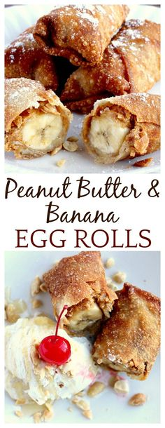 These Peanut Butter and Banana Egg Rolls may be far from traditional egg rolls but they are amazingly delicious! Filled with peanut butter, banana, cinnamon, and honey, they make a yummy dessert along with ice cream - yum!