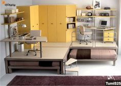 Soppalco con pedana a due letti ad estrazione, armadiatura ad angolo e doppia scrivania sagomata