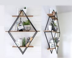 Diamond Book Shelf,  Open Shelving, Open Shelves, Diamond Framed Shelf, Diamond Bookcase, Fixer Upper Style, Steel and Wood, Steel and Metal, Geometric, Modern, Home Decor, Mid Century Modern, House, Wall Hanging, Wall Decor, available on Etsy