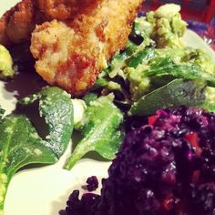 Buttermilk batter fried organic chicken breast on organic baby spinach, avocado and fennel salad. forbidden rice salad with red pepper,shallot in an organic virgin olive oil and rice vinegar dressing ... - @Zan McQuade | Webstagram