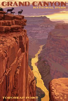 Grand Canyon National Park, Arizona - Toroweap Point - Lantern Press Artwork