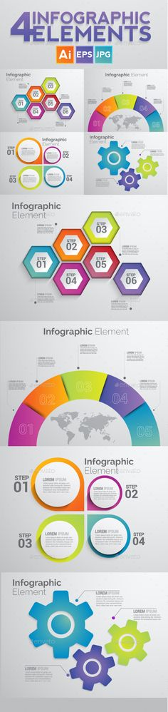 Set of 4 Infographic Elements Templates Vector EPS, AI Illustrator