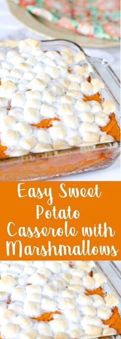 A simple recipe for easy sweet potato casserole with marshmallows made with fres. - A simple recipe for easy sweet potato casserole with marshmallows made with fresh ingredients. Sweet Potatoes With Marshmallows, Recipes With Marshmallows, Sweet Potato Marshmallow, Candied Yams With Marshmallows, Marshmallow Recipes, Thanksgiving Recipes, Holiday Recipes, Dinner Recipes, Thanksgiving Sides