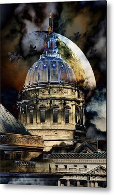 Once Upon A Time On A Warm Summers Night In San Francisco 5d22548 Metal Print by Wingsdomain Art and Photography  bayarea bay area san francisco sf california ca architecture classical architecture column classical column columns classic civic center san fr…