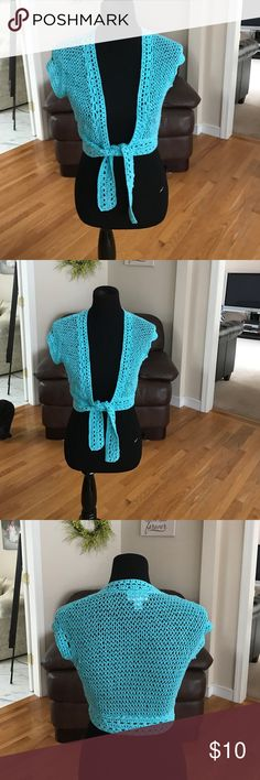 Ann Taylor crochet sweater Pretty light blue crochet sweater, ties at waist. Cotton/acrylic ann taylor Sweaters