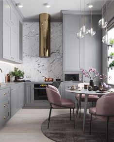 Cool pink/grey kitchen. Every girlygirls dream