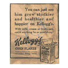Authentic Antique Newspaper Advertisement Digital Image Kelloggs Cereal - pinned by pin4etsy.com