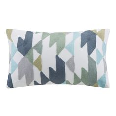 Ink+Ivy Konya oblong pillow provides a bold look for any room in your home. This multipurpose pillow features blue, green and taupe chain stitching for a dense triangle design. This decorative pillow coordinates with the Ink+Ivy Bedding Collection.