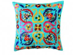 INDIAN EMBROIDERED DECORATIVE PILLOWS SUZANI SOFA CUSHION COVER ETHNIC DECOR ART #Handmade