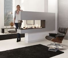 contemporary 3 sided fireplace (gas closed hearth) Lucius 140 R Element4 B.V.