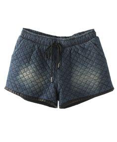 Drawstring Elastic Waist Quilted Denim Shorts - Clothing