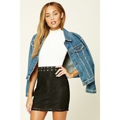 Forever21 Grommet Lace Mini Skirt (48 PLN) ❤ liked on Polyvore featuring skirts, mini skirts, black, eyelet lace skirt, lace skirt, forever 21 skirts, forever 21 mini skirt and short lace skirt