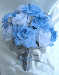 blue silver wedding flowers | Details about Wedding Bouquet Bridal Silk flowers BLUE SILVER WHITE ...