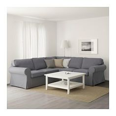 IKEA - EKTORP, Sectional, 4-seat corner, Nordvalla dark gray, , Seat cushion…