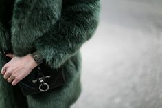 green faux fur coat d.efect - worry about it later Fake Fur Coat, Faux Fur, Rado, Watches, Green, Love At First Sight, Wrist Watches, Wristwatches, Tag Watches