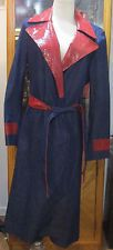 """LADIES L/S COAT DUSTER LEATHER AND BLUE JEAN COREY LYNN COLTER SIZE 8 CHEST 42"""""""