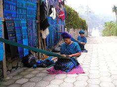 Guatemala   Kaqchikel (or Cakchiquel) Indian women in Mexico weaving handmade carpets   ©  Michel Vennema, via Flickr