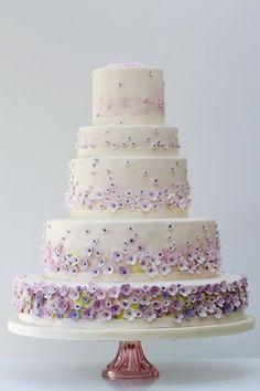 Torta nuziale fiori viola