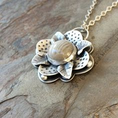 Fine Silver Flower Setting Pendant with Polish by coldfeetjewelry