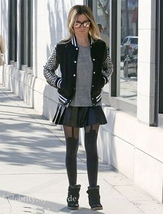 Seen on Celebrity Style Guide: Ashley Tisdale paired this sporty varsity jacket with stockings when she went shopping December 12...Get It Here: http://rstyle.me/~19Ri7