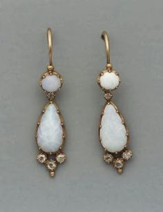 Pair of French mid-19th Century earrings opal and diamonds set in gold