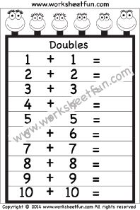 Addition Doubles – 1 Worksheet