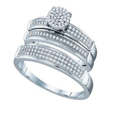 BrianG | Micro Pave Diamond Engagement Collection 10k White Gold 0.40 Cttw Diamond Miro-pave Wedding Band Engagement Ring Trio Set