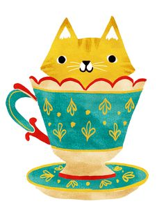 "Art by Van Huynh ""Kitty in a Teacup!"""
