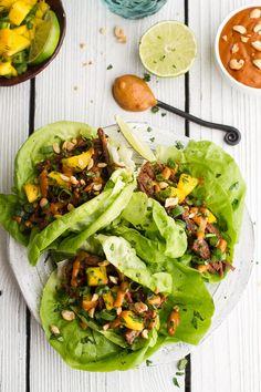 Crockpot Curried Thai Short Rib Lettuce Wraps with Peanut Sauce   Mango Salsa   halfbakedharvest.com