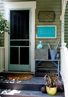 colored chalk board paint. Will make this black and put at front door for messages
