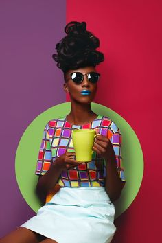 colorful fashion photography A brightly colored fashion shoot setup for a portrait of a female model by Victor Peace Pop Art Fashion, Foto Fashion, Fashion Shoot, Colorful Fashion, Editorial Fashion, Trendy Fashion, Fashion Models, Fashion Design, Editorial Hair