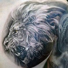Lion tattoos epitomize strength, power, courage, and family. As the king of the jungle, lion tattoos for men are popular and masculine. And the best lion tattoo designs can have…View Post Leo Lion Tattoos, Lion Chest Tattoo, Lion Back Tattoo, Small Lion Tattoo, Tattoos 3d, Mens Lion Tattoo, Wolf Tattoos, Animal Tattoos, Sleeve Tattoos