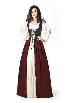 Renaissance Pirate Wench Irish Costume Two-Toned Over Dress & White Gaelic Chemise Steel Blue) Renaissance Costume, Medieval Costume, Renaissance Clothing, Medieval Dress, Renaissance Pirate, Old Fashion Dresses, Old Dresses, Vintage Dresses, Irish Costumes