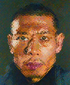 Chuck Close, art, painting, portraits, zhang huan #1 (2008 - oil on canvas)