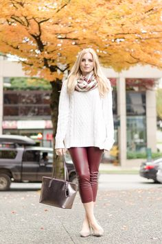 oversized knit sweater paired with burgundy leather leggings  #outfitideas #fashionblogger
