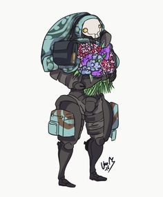 Clem, about to give flowers to someone speshul.