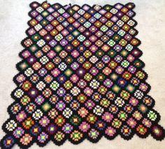 Vintage Hand Crochet Blanket afghan throw granny squares 62 x 46 black