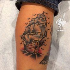 Old School Sailing Ship Tattoo   Venice Tattoo Art Designs