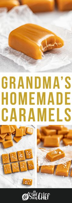 If you can stir, you can make Grandma's Homemade Caramels! These are soft, chewy, and so easy to make. We've even included instructions on how to make caramels without a candy thermometer! Caramel Recipes, Candy Recipes, Cookie Recipes, Dessert Recipes, Caramel Fudge, Delicious Desserts, Holiday Desserts, Holiday Recipes, Christmas Recipes
