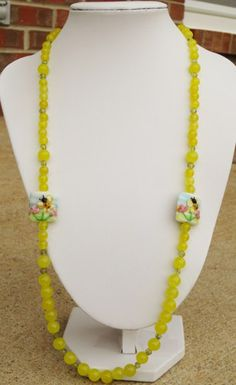 NEW Yellow Jade Gemstone Charming Bumble Bee Lampwork Necklace | evezbeadz.artfire.com