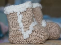 Hand Knit Ugg Style Baby Booties