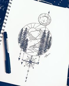 Another per request .... loving my wanderlust treehugger peeps looking for all of these nature and adventure tattoo sketches ... #tattoo #tattoodesign #minimalisttattoo #tattoosketch #mountaintattoo #sunsettattoo #geometrictattoo #adventure #wanderlust #moontattoo #moonandstars #compass