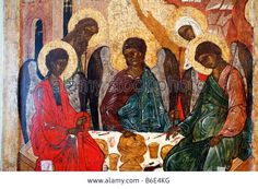 Download this stock image: Trinity, Russian Icon, religious art, saint, city museum Pskov, Russia - B6E4KG from Alamy's library of millions of high resolution stock photos, illustrations and vectors.