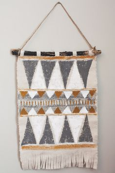 Thoughts from Alice: DIY Tribal Inspired Wall Hanging {acrylic paint stamped on drop cloth}